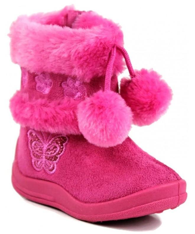 Kali Footwear Little Girls Glitter Pom