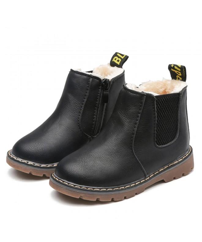 Kid Girls Zipper Martin Boots Waterproof Leather Slip On Winter  Shoes(Toddler/Little Kid/Big Kid) , Black 1 , C1189LDS3D5