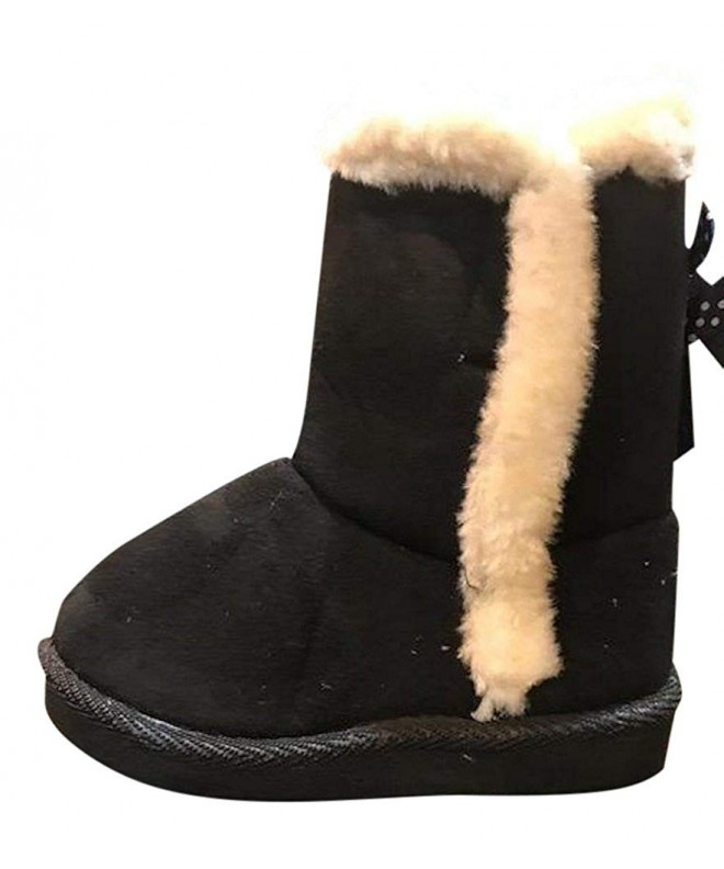 Toddler Zippered Fur Boots Black