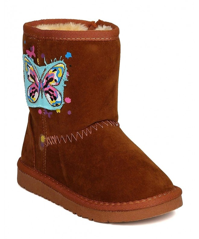 Girls Suede Butterfly Lined Winter