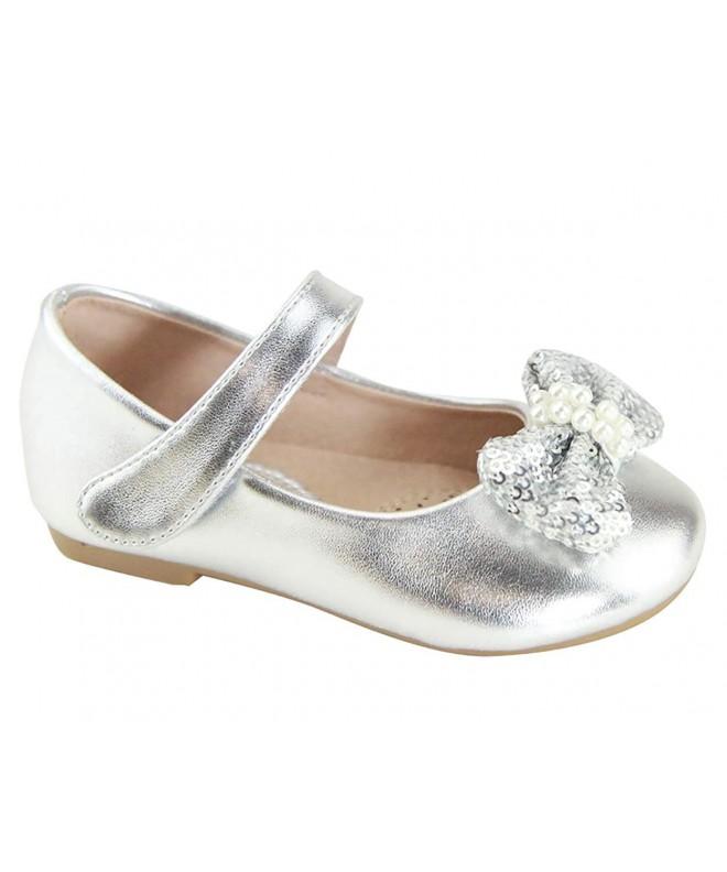 CYBLING Silver Girls Cute Rhinestone Ballet Ballerina Flats Princess Mary Jane Dress Shoes Toddler//Little Kid