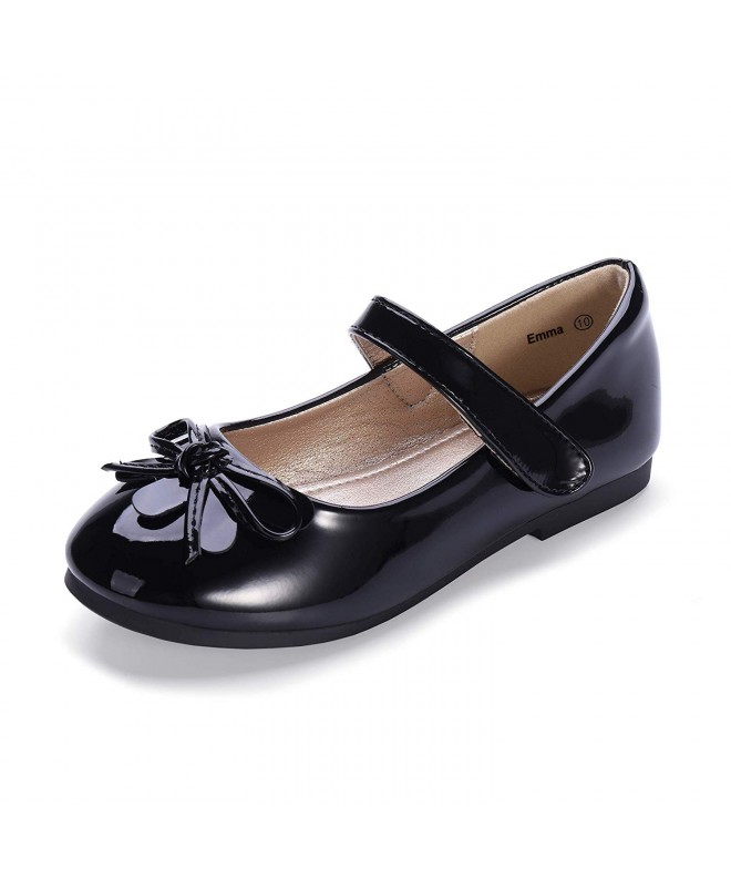 Je-Gou Girls Patent Leather Mary Jane Dress Oxford Black School Uniform Shoes Ballet Ballerina Flats