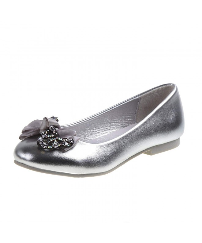 Ballet Flats with Rhinestone Bow Over