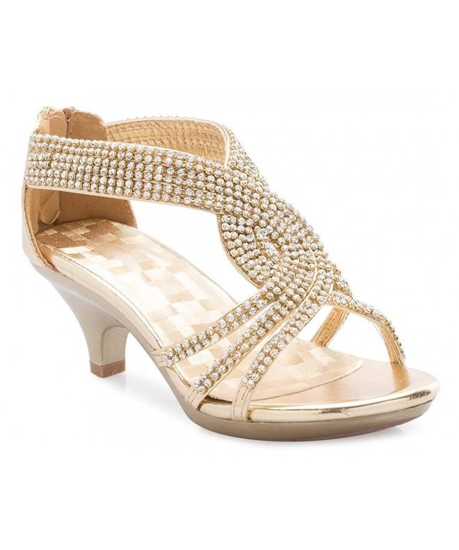 OLIVIA Girls Strappy Rhinestone Sandal