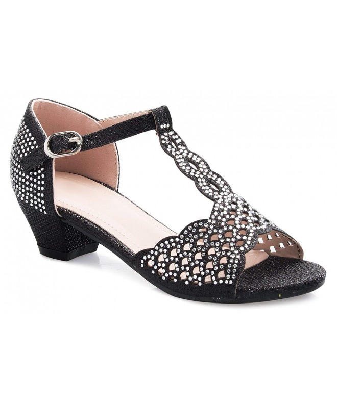 Link Girls Rhinestone Soft Insole T-Strap Sandals Black,10