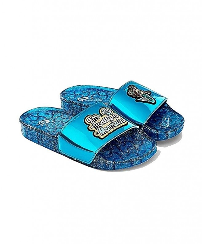 Justice Slide Sandals Blue Mermaid