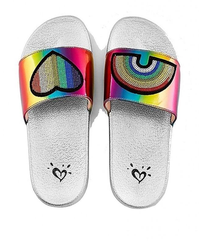 Justice Slide Sandals Rainbow Patch