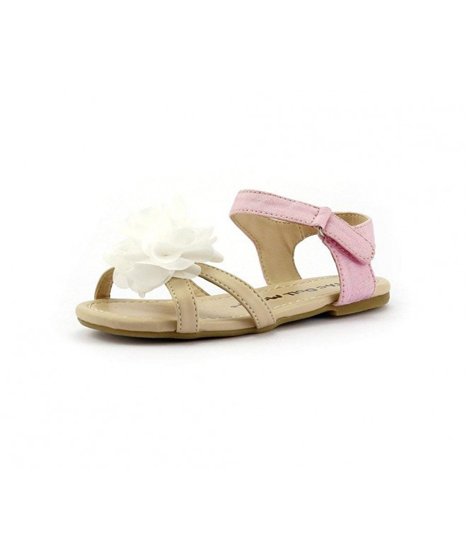 Pink Leatherette Floral Open Toe Ankle Strap Buckle Footbed Sandal Little Girl//Big Girl EG31