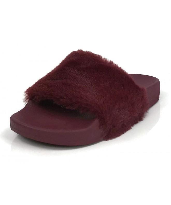 Girls Slides Fuzzy Slipper Flats