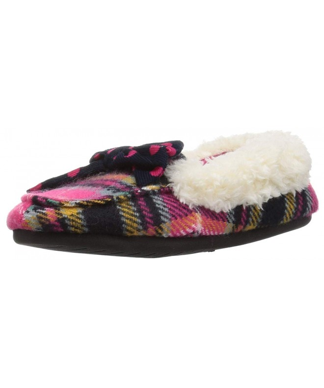 Dearfoams Plaid Moccasin Polka Slipper