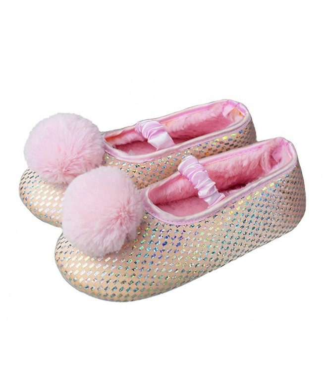 Girls Big Kids Comfy Winter House Slippers with Soft Memory Foam Rubber  Sole Bedroom Shoes - Pink - C018L6G6O3H