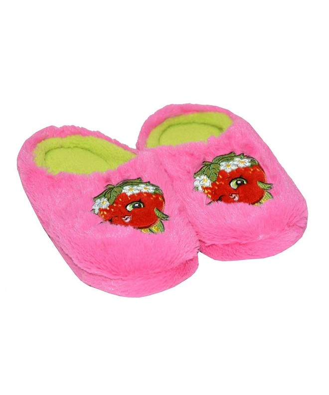 Shopkins Girls Embroidered Plush Slippers