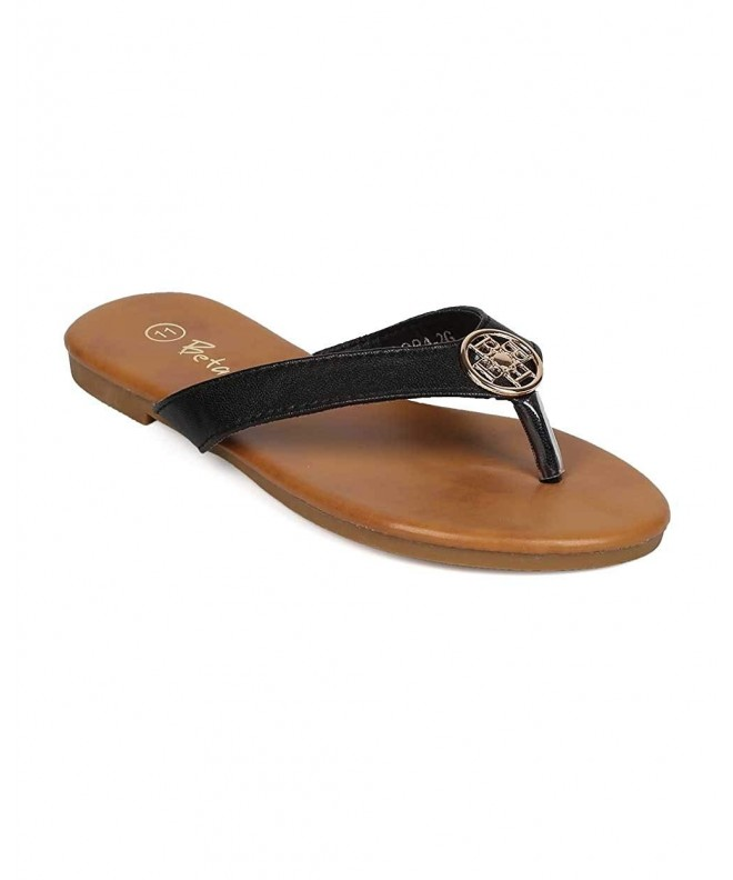 Leatherette Emblem Thong Sandal Little