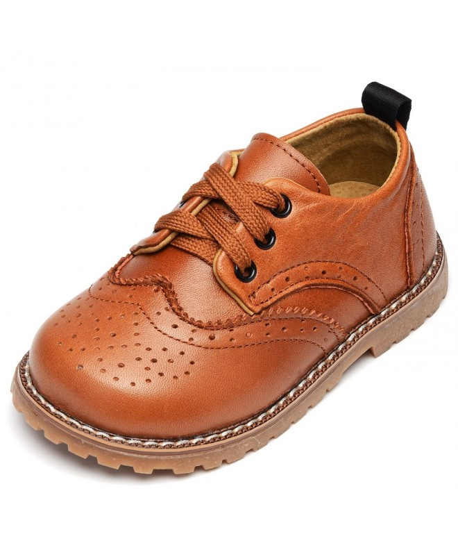 UBELLA Kids Toddler Boys Girls Lace Up Leather Flats Childrens Oxford Dress Shoes